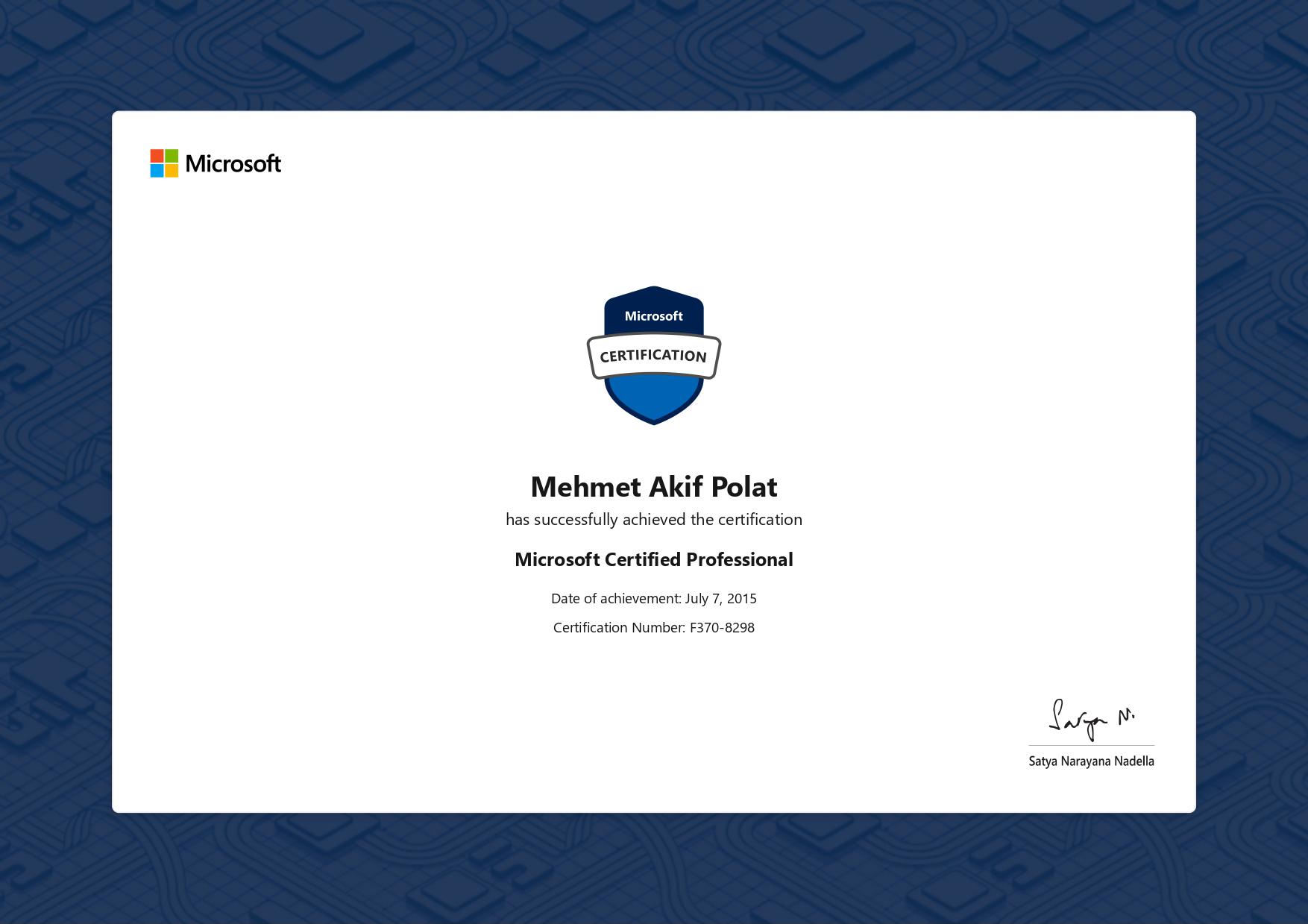 Akif POLAT, Microsoft Certified Professional