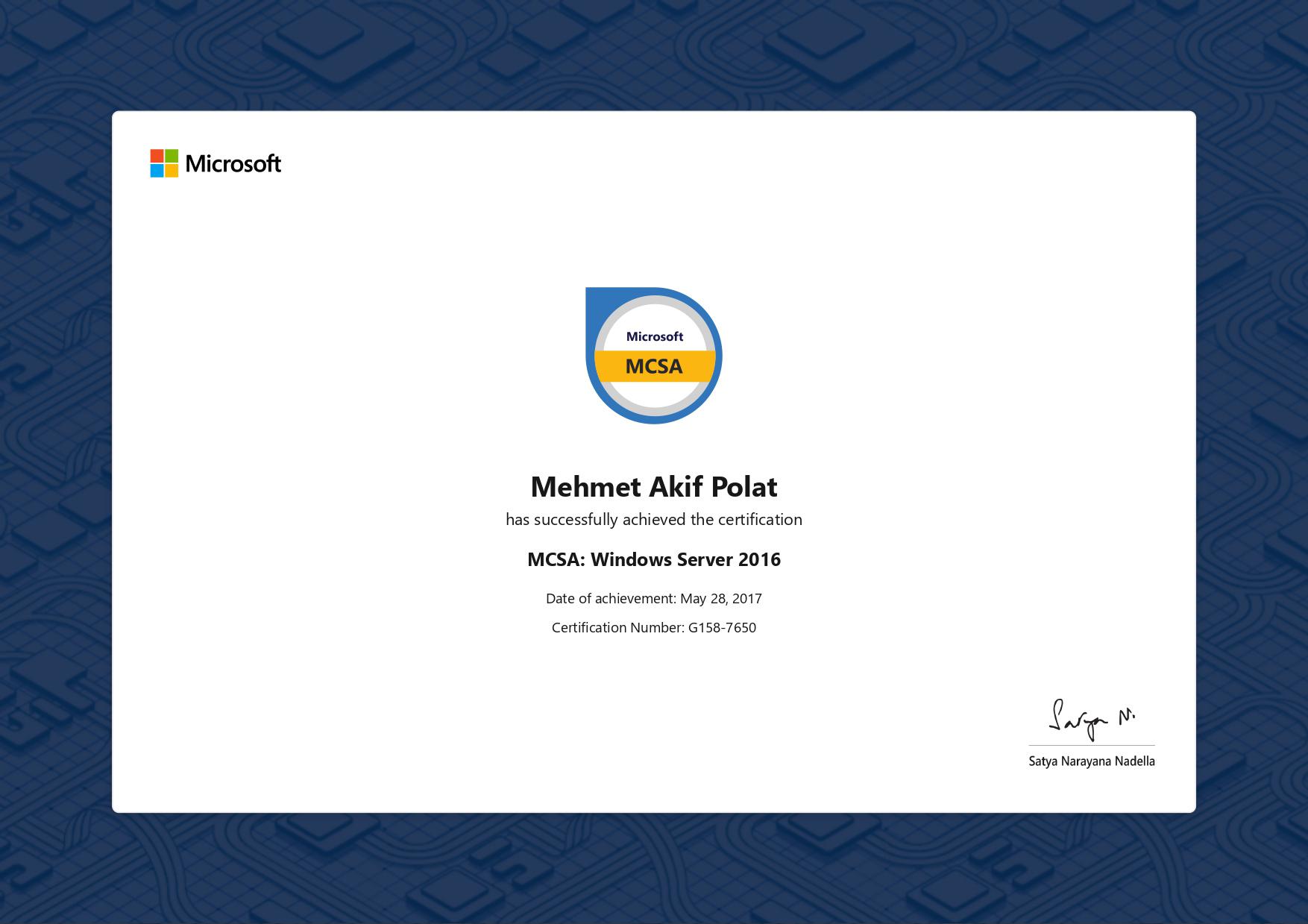Akif POLAT, Microsoft® Certified Solutions Associate: Windows Server 2016