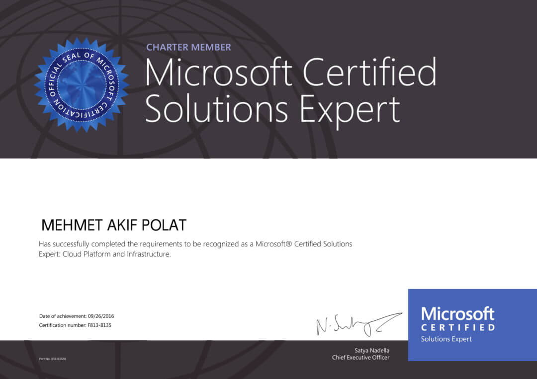 Akif POLAT, Microsoft Certified Solutions Expert: Cloud Platform and Infrastructure Charter Member